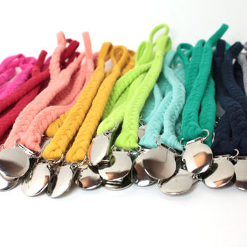 Pacifier Clip / Braided Pacifier Clip / soothie / binky clip / pacifier holder / neutral gift / shower gift / Jersey Braided Pacifier clip