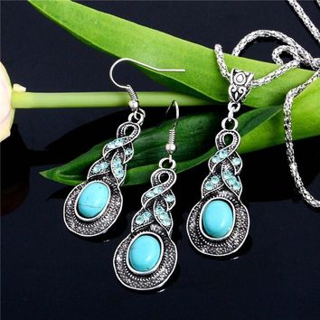 SHUANGR New Arrival Silver Color Fashion Jewellery Set Blue Resin Turkish Jewelry Earring And Necklace Sets