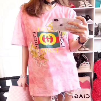 """""""Gucci"""" Women Casual Fashion Fish Embroidery Letter Print Pattern Short Sleeve T-shirt Top Tee"""