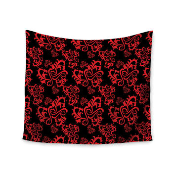 "Mydeas ""Sweetheart Damask Black & Red"" Pattern Wall Tapestry"