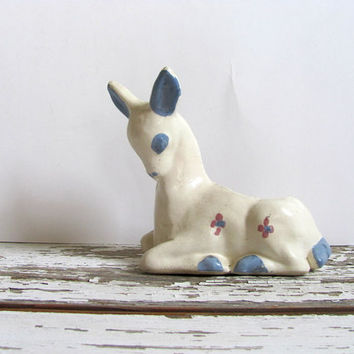 white vintage deer planter