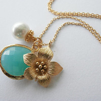 Glass Drop Freshwater Pearl Narcissus Flower Necklace Turquoise Faceted Teardrop Pendant Jewelry Bridal Wedding Gift Present  Gold Filled
