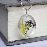 Real Plant Jewelry. Pressed Flower Fern in Resin Necklace. Real Flowers Necklace. Purple Flower Fern in Resin Necklace. Botanical Jewelry.