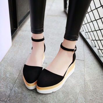 Covered Toe Ankle Straps Flats Platform Sandals 6590
