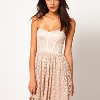 ASOS Strapless Skater Dress in Lace - Nude