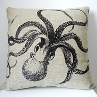 "HOSL Decorative Cotton Linen Square Throw Pillow Case Cushion Cover Throw Pillow Shell Pillowcase for Sofa Octopus 18 ""X18 """
