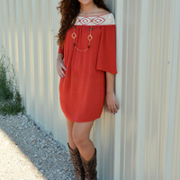 THE JOSELYN DRESS IN RUST
