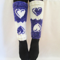 Valentine's Day Gift, Boot cuff, Knitted boot cuffs, White, Purple,  Two in One, Leg Warmer, Very Long Cuff, Garnished with heart pattern.