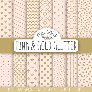 Pink and Gold Glitter Digital Paper. Gold Sparkle Scrapbooking Paper Pack. Valentine's Day Digital Paper. Hearts, Arrows, Chevron Pattern.