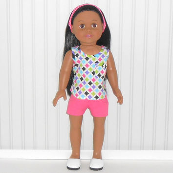 American Girl Doll Clothes Hot Pink Jean Shorts with Diamond Print Tank Top and Headband fits 18 inch dolls