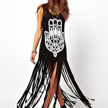 Black Khamsa Print Sleeveless Fringed Tunic Dress
