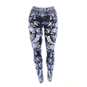 "KESS Original ""Baroque Blue Velvet"" Abstract Floral Yoga Leggings"