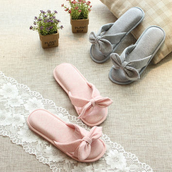 bowtie cotton soft home slippers women cute bedroom slippers