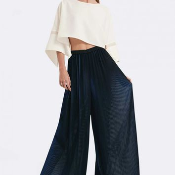 Rae Pleated Wide Leg Trousers - Eclipse Navy