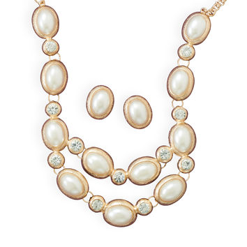 Bridal Necklace Gold & Silver Tone Oval Imitation Pearl and Earring Set