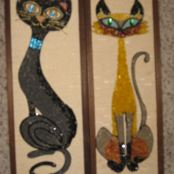 1950's-60's Art Deco Cat Wall Decor/ Pair Wall Decor/ Vintage Cat Decor/ Art Deco Wall Art