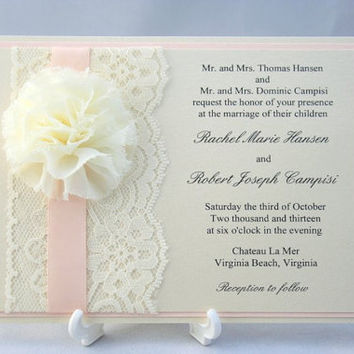 Peach Wedding Invitation with Satin Ribbon and Chiffon Flower - Sample