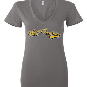 Official NCAA West Virginia University Mountaineers Hail WVU Baseball Tail Ladies Deep V-Neck - SC33WV