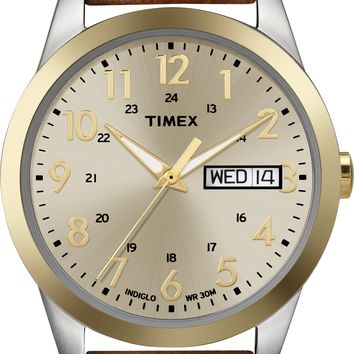 Timex Mens Brown Leather Strap Dress Watch
