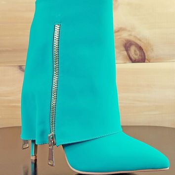 Cape Robbin Green Fold Over Ankle Boot Stiletto Heel Gold Zippers 5.5 & 7