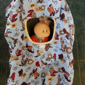 Boy's Blue Cowboy Baby Carrier Cozy Cover Up fits Infant Car seats