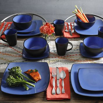 Elegant Stylish Fine Dining Square Banquet 16-Piece Stoneware Dinnerware Set