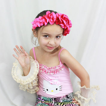 Pink Flower Crown - Girls Headband - Dance Costume - Flower Girl - Bridal Hair Accessory - Flower Fascinator