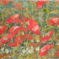 Original Still Life Red Poppy Chamomile in the Meadow Mix Bouquet Flower Oil Painting Authors Artwork Contemporary Fine Modern Art Realism