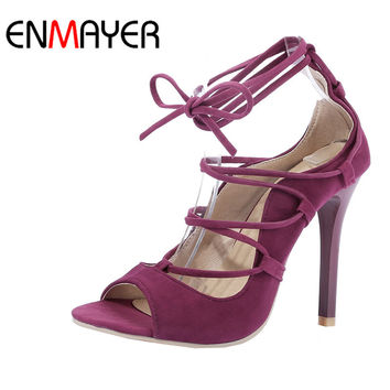 ENMAYER Black Red Flock High Heels Peep Toe Lace-Up Ankle Strap Rome Shoes Women Thin Heels Casual Dress Sandals Size34-43
