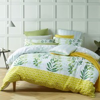 Tendril Green Cotton Printed Quilt Cover Set OR Accessories by Bianca