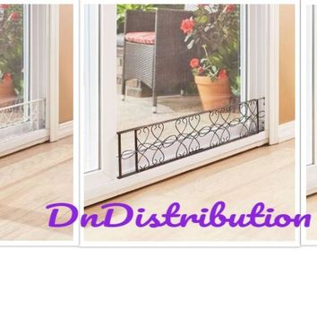 Sliding Door Stopper Metal Scrollwork Expandable Security Lock Stop Decorative