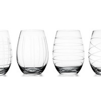 Medallion Stemless Wineglasses, Set of 4, Wine Glasses