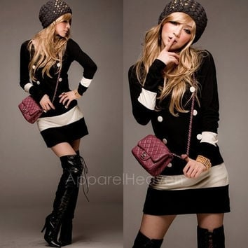 Chic Lady Neck Button Knit Sweater Long Sleeves Cocktail Scoop Party Mini Dress AP