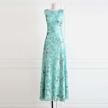 DressSleeveless Shiny Sequins Embroidery Gorgeous Long Dress