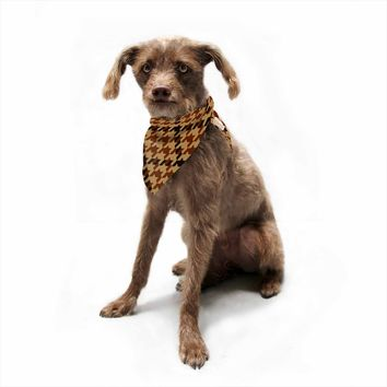"Kess Original ""Gold And Black Plaid"" Gold Black Pattern Digital Pet Bandana"