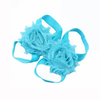 5pairs/10pcs Baby Girl's Kids Flowers Foot Band Ties Barefoot Sandals Shoes Chiffon Foot Flower Accessories Beautiful 05B0002