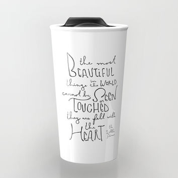 "The Little Prince quote ""the most beautiful things"" Travel Mug by simpleserene"
