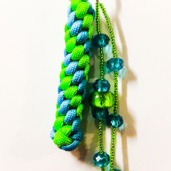 Beaded paracord round crown sennet keychain, neon green and neon turquoise paracord and bead keychain