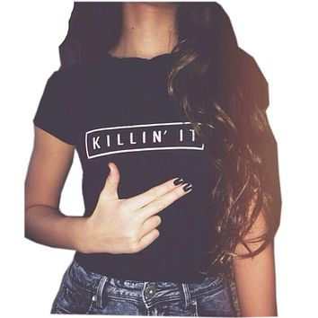 Killin It Fashion Cotton Women T shirt T-shirt Tops Harajuku Tee White