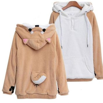 Japanese Anime Sweatshirt Women Kawaii Hoodies Doge Lovely Muco! Winter Cute Hooded Jacket With Ears Harajuku Hoodies For Women
