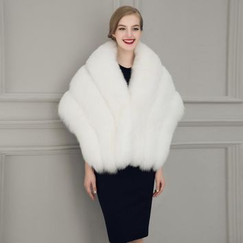 Women Winter Coat Fur Jackets Trendy Bride Wedding Dress Faux Fur Shawl Wedding Shawl Little Shawl Solid Color New Arrival Veste