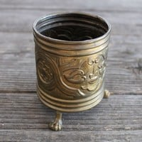 Vintage Belgium Brass Repousse Footed Mini Urn Jardiniere Plant Pot