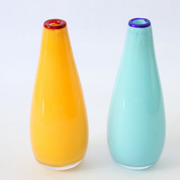 A Pair Of  Yellow and Blue Hand Painted Mini Bud Glass Vases