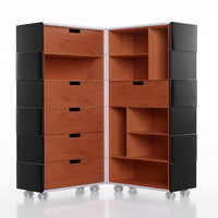 Wooden storage unit with casters CHAMELEON by Porro | design FRONT