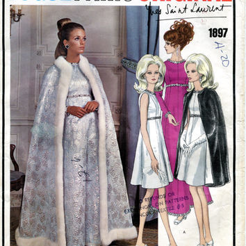 1960s YVES Saint LAURENT Evening Cocktail High Waisted A-Line Dress & Cape Vogue 1897 Paris Original Designer Vintage Sewing Patterns +Label