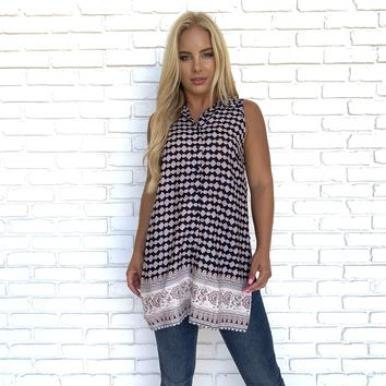 Mosaic Pattern Tunic Top