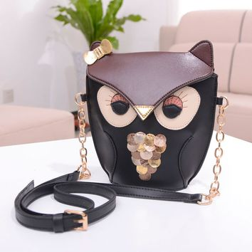 Women's PU Leather Splicing Color Cross Body Bag Owl Pattern