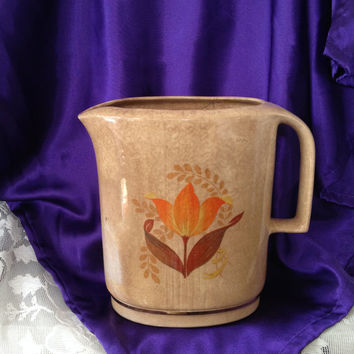 Bakerite Harker Modern Tulip 22 kt  Warranted Gold Trim Ironstone Pitcher Vintage 1940s Rustic Farmhouse Decor