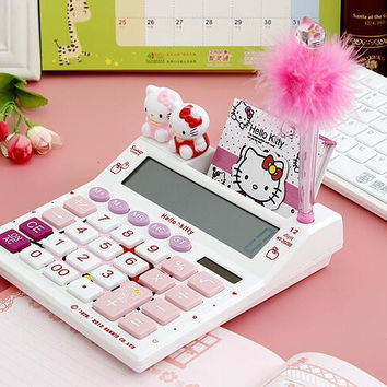 Hello Kitty Cute Calculator Office Electronic Calculating Dual Solar Battery Power With A shinning kitty Pen and A notebook