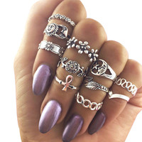 11pcs/set Boho Style Flower Leaves Midi Rings for Women